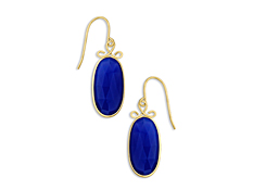12 ct Dark Blue Chalcedony Drop Earrings in 10K Gold