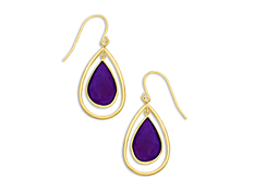 6 ct Purple Chalcedony Drop Earrings in 10K Gold