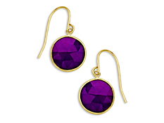 6 3/8 ct Purple Chalcedony Drop Earrings in 10K Gold