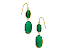 16 ct Green Onyx Drop Earrings in 10K Gold