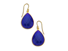 33 ct Dark Blue Chalcedony Drop Earrings in 18K Gold over Sterling Silver