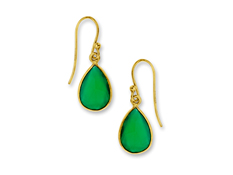 4 1/2 ct Green Onyx Drop Earrings in 18K Gold over Sterling Silver, by Vincenza