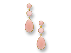 35 1/2 ct Pink Chalcedony Drop Earrings in 18K Gold over Sterling Silver