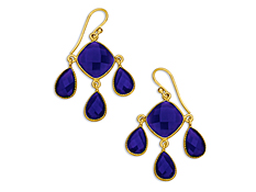 17 3/8 ct Dark Blue Chalcedony Chandelier Earrings in 18K Gold over Sterling Silver