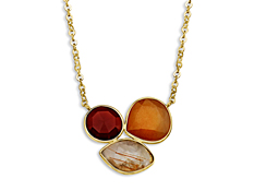 8 ct Red Onyx, Bronze Rutile and Orange Aventurine Necklace in 10K Gold