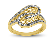Swirl Ring with Diamond in 18K Gold over Sterling Silver