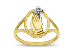 Praying Hands Ring with Diamond in 18K Gold over Sterling Silver