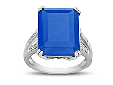 16 1/5 ct Blue Chalcedony Ring with Diamonds in Sterling Silver