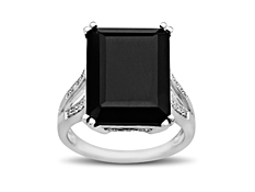 16 1/5 ct Onyx Ring with Diamonds in Sterling Silver