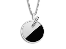 Onyx and White Agate Pendant with Diamonds in Sterling Silver