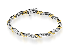 2 ct Diamond Link Bracelet in 10K Two-Tone Gold