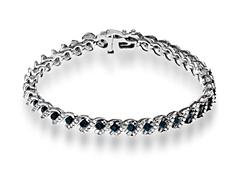 4 ct White and Black Diamond Link Bracelet in 10K White Gold