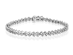 1 ct Diamond Link Bracelet in Sterling Silver