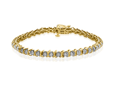 1 ct Diamond Link Bracelet in 10K Gold over Sterling Silver