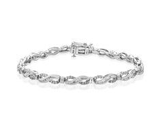1 ct Diamond Wave Link Bracelet in Sterling Silver