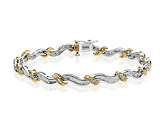 3/4 ct Diamond Twist Link Bracelet in 10K Two-Tone Gold