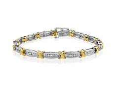 3/4 ct Diamond Link Bracelet in 10K Two-Tone Gold