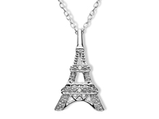 Eiffel Tower Pendant with Diamonds in Sterling Silver