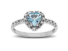 5/8 ct Aquamarine Heart Ring with Diamond in 10K White Gold