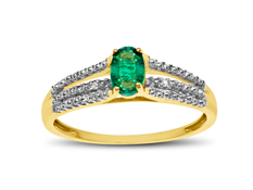 3/8 ct Emerald Ring with Diamonds in 10K Gold