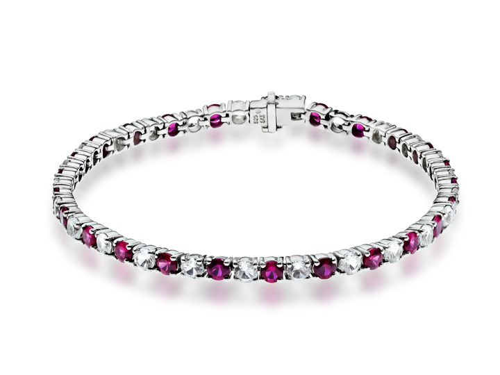 11 1/4 ct Ruby and White Sapphire Bracelet in Sterling Silver from Jewelry. com