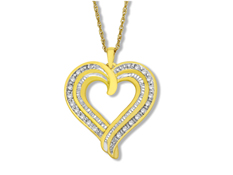 1/2 ct Diamond Concentric Heart Pendant in 18K Gold over Sterling Silver