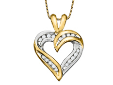 1/4 ct Diamond Heart Pendant in 18K Gold over Sterling Silver