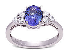 1/4 ct Diamond and Tanzanite Ring in 14K White Gold from Jewelry. com