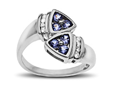 1/2 ct Tanzanite and 1/10 ct Diamond Ring in 14K White Gold