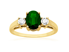 Emerald and 1/5 ct Diamond Ring in 14K Gold