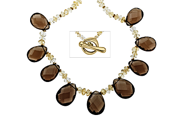 Smokey Quartz and Citrine Necklace in 14K Gold from Jewelry.com