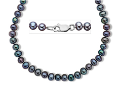 5-6 mm 'Peacock' Gray Pearl Necklace in Sterling Silver