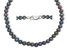 4-5 mm Black Pearl Necklace in Sterling Silver