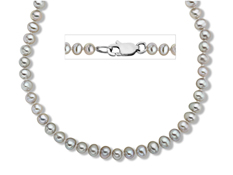 4-5 mm Grey Pearl Necklace in Sterling Silver