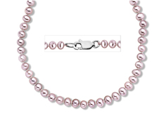 4-5 mm Pink Pearl Necklace in Sterling Silver