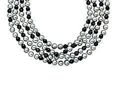 100-inch 5mm Silver Grey Pearl and 4-4.5mm Faceted Onyx Strand Necklace