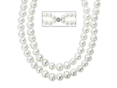 18-inch 7.5mm Double Strand Pearl Necklace with Sterling Silver Clasp