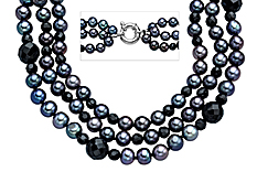 18-inch Triple Strand 5.5mm Grey Pearl and 4-8mm Faceted Onyx Necklace with Sterling Silver Clasp