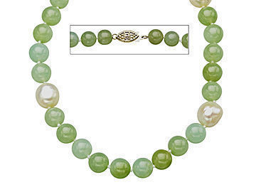18-Inch 8mm Jade and 10mm Baroque Pearl Strand Necklace with Sterling Silver Clasp from Jewelry. com
