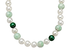 18-inch 7mm Pearl, 8mm Jade, and 7mm Malachite Necklace with Sterling Silver Clasp