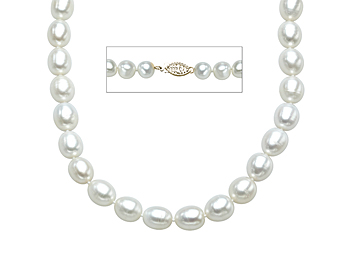 18-Inch 10X8mm Pearl Necklace with 14K Gold Clasp from Jewelry. com