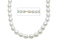 18-inch 10x8mm Pearl Necklace with Sterling Silver Clasp