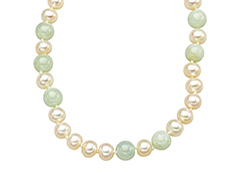 36-inch 7mm Pearl and 8mm Jade Strand Necklace