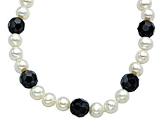 7.5mm Pearl and 10mm Onyx Strand Necklace