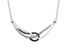 1/4 ct Black and White Diamond Necklace in Sterling Silver
