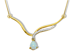 Opal Necklace with Diamonds in 10K Gold