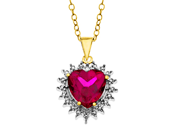 Ruby Heart Pendant with Diamond in 18K Gold over Sterling Silver