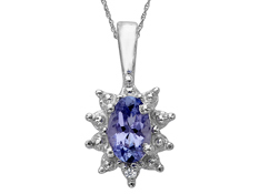 3/8 ct Tanzanite Pendant with Diamond in Sterling Silver