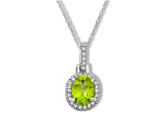 Peridot and 1/8 ct Diamond Pendant in 10K White Gold