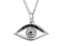 1/10 ct Black and White Diamond 'Mati' Evil Eye Pendant in 14K White Gold